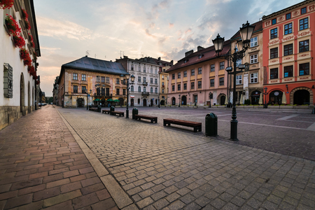 a nocturne: A Small Market square Maly Rynek in Krakow. Poland. Stock Photo