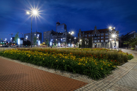 Central square of the Katowice in the evening. Poland