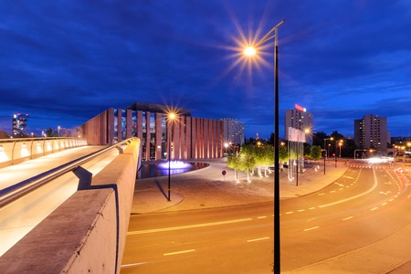 Katowice in the night. Night city. Poland. Europe. Zdjęcie Seryjne - 84206063