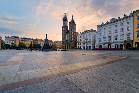 a nocturne: Rynek square in Krakow, Poland. Europe in the morning Editorial