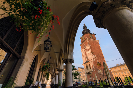 a nocturne: View on the town hall tower  in summer morning. Krakow, Poland.