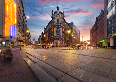 Central square of Katowice, Poland in dramatic sunset. Stok Fotoğraf