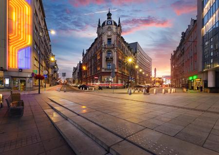 Central square of Katowice, Poland in dramatic sunset. Archivio Fotografico