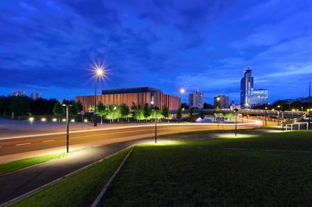 Beautiful evening streets in Katowice. Polish. Europe. Zdjęcie Seryjne