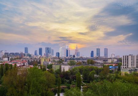Warsaw cityscape. Evening photo. Poland. Europe.