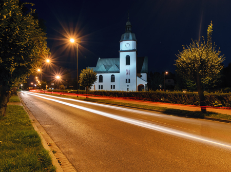 Church in Zory in the evening. Poland, Europe.