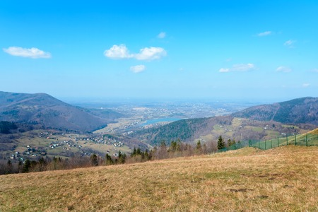 View from Zar mountain in the spring day. Poland. Europe.