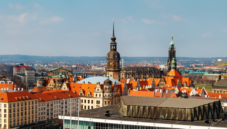 View from top on Dresden city, Germany. Europe. Day foto.