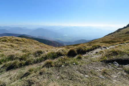 View the meadows in The Vratna valley at the national park Mala Fatra, Slovakia. Autumn.