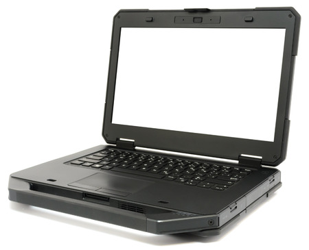 Fully Rugged Laptop with blank screen, isolated on a white background.