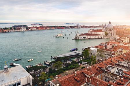Aerial cityscape of Venice with Santa Maria della Salute church, Venice, Italy 写真素材