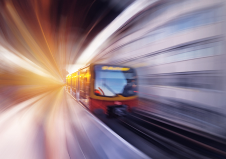 The  railway U-Bahn in motion at sunset. Germany. Banco de Imagens - 122695710