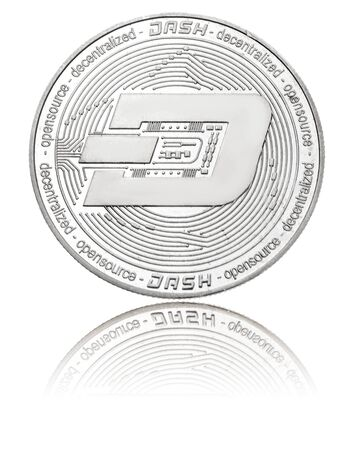 silver ryptocurrency coin - dash, isolated on a white background.