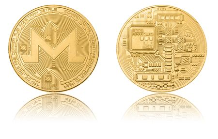 Gold ryptocurrency coin - monero, isolated on a white background.