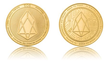 Gold ryptocurrency coin - eos, isolated on a white background.