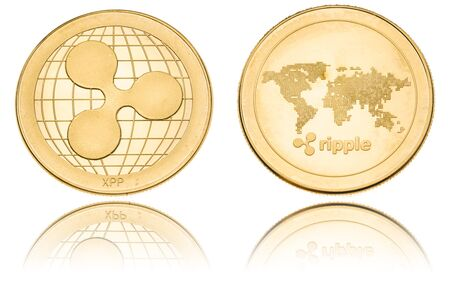 Gold ryptocurrency coin - Ripple, isolated on a white background. Stock fotó