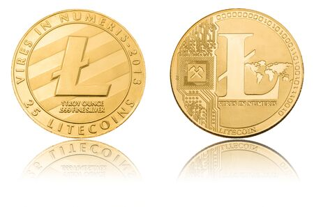 Cryptocurrency coin - Litecoin,  isolated on a white background.