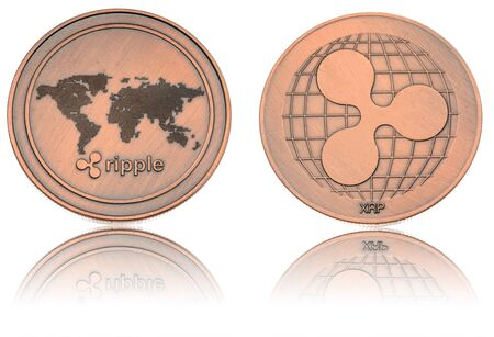 bronze ryptocurrency coin - Ripple, isolated on a white background.