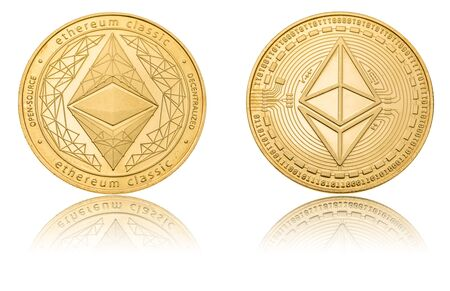 Gold ryptocurrency coin - etherum classic, isolated on a white background.
