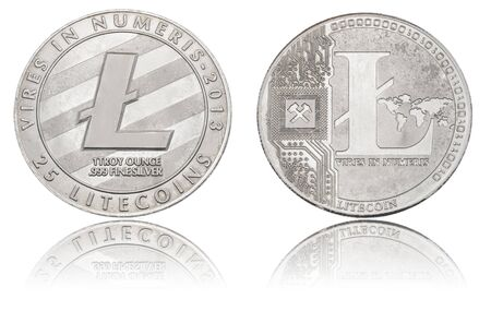 silver Cryptocurrency coin - Litecoin, isolated on a white background.