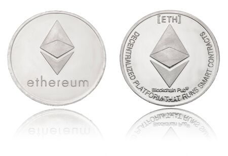 silver ryptocurrency coin - Etherum, isolated on a white background.