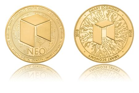 Gold ryptocurrency coin - neo, isolated on a white background.