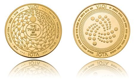Gold ryptocurrency coin - iota, isolated on a white background.