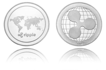 silver ryptocurrency coin - Ripple, isolated on a white background.