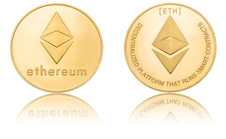 Gold ryptocurrency coin - Etherum, isolated on a white background.