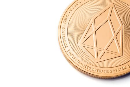Gold cryptocurrency coin - eos, isolated on a white background. Stock fotó