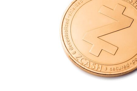 Gold cryptocurrency coin - zcash, isolated on a white background. Stock fotó
