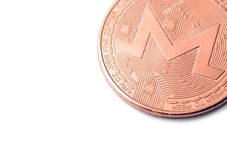 Gold cryptocurrency coin - monero, isolated on a white background. Stock fotó