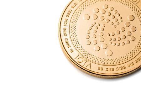 Gold cryptocurrency coin - iota, isolated on a white background. Stock fotó