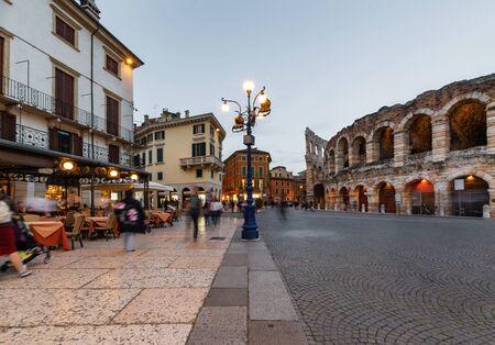 Roman Arena in Verona at dusk time