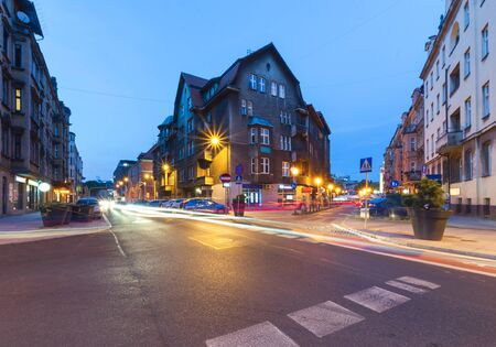 Street in the center of Katowice, Poland. Europe.
