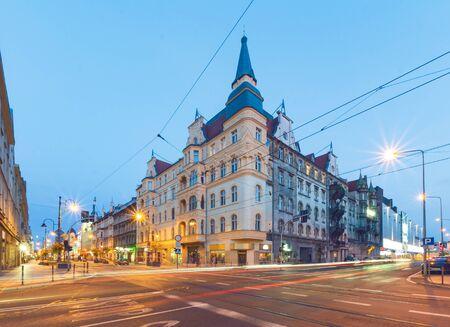 The old building in the evening. Katowice Zdjęcie Seryjne