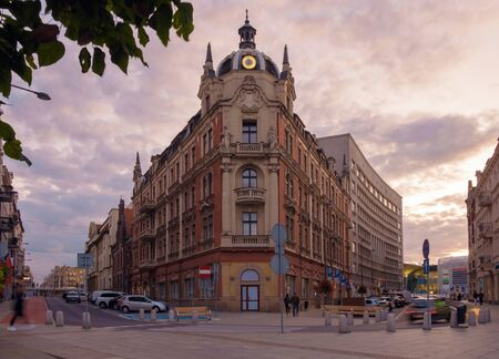 The old building in the center of Katowice during sunset