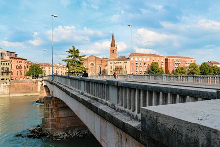 Panoramic view on the dige river in the evening in Verona. Italy 版權商用圖片