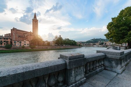 Panoramic view on the dige river in the evening in Verona