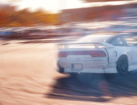 Car drifting, Blurred of image diffusion race drift car