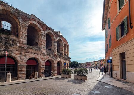Verona amphitheatre, the third largest in the world, day time. Roman Arena in Verona, Italy