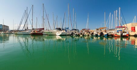Day foto of old venetian harbor with boats in Heraklion, Crete island, Greece