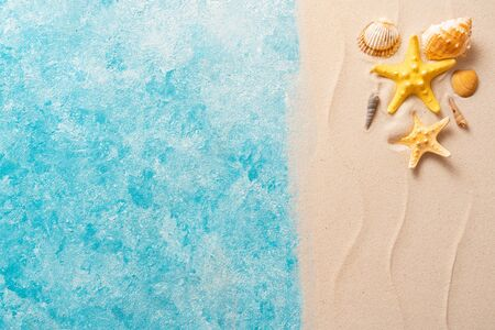 Creative layout of sand waves and sea, summer beach background with shell, sea star, vacation and travel concept, Flat lay top view copy space Minimal exotic concept.