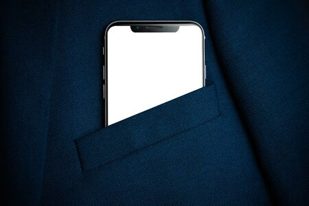 Black smartphone with white screen in men suit pocket close up. Copy space, mockup Stock Photo
