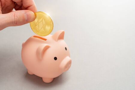 Eos holding concept. Piggy bank for altcoins. Cryptocurrency saving symbol. A man puts coin in a money box on a gray background. Copy space.