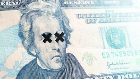 Global economic crisis of 2020 concept. Dollar bill close up. Symbol of economic and financial.