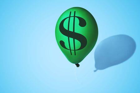 Dollar symbol on green balloon. Concept of finance risk.
