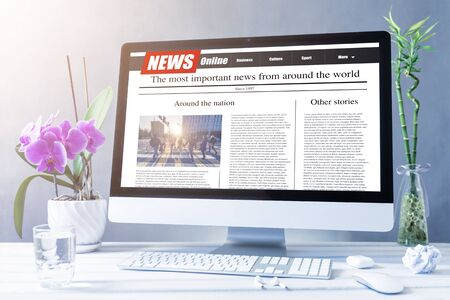 news on a computer screen. Mockup website. Newspaper and portal on internet.
