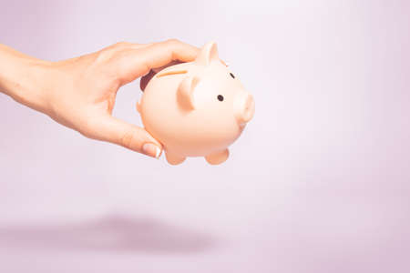 Money holding concept. Saving symbol - Close-up Of A woman hold a Piggy Bank. Money box on a pastel background. Copy space.