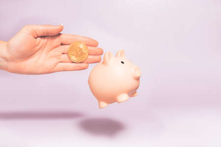 Bitcoin holding concept. Piggy bank for bitcoins. Cryptocurrency saving symbol. A woman puts bitcoin in a money box on a pastel background. Copy space. Reklamní fotografie